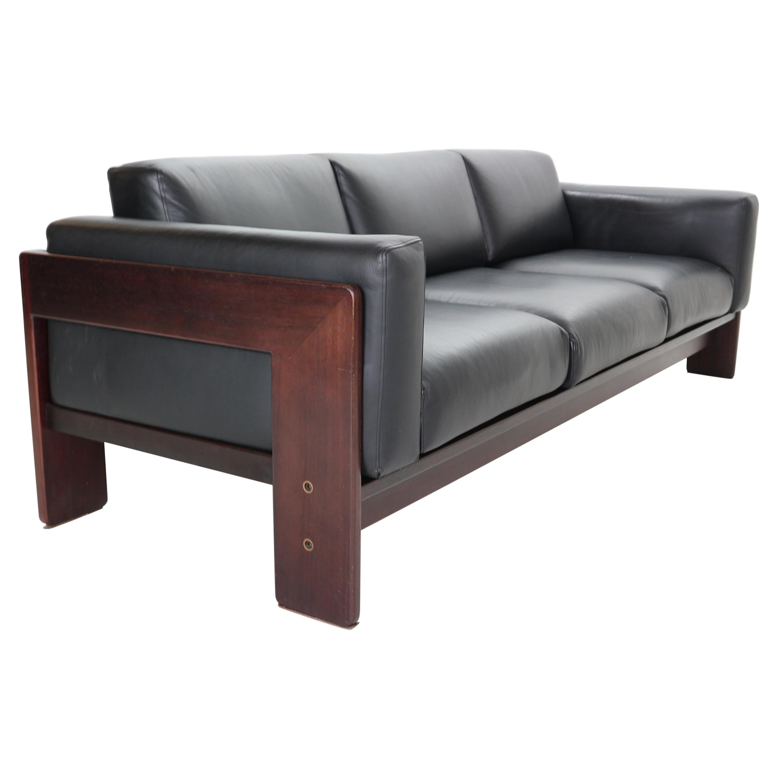 "Tobia Scarpa Black Leather ""Bastiano"" 3-Seater Sofa for Knoll, 1960s, Italy"