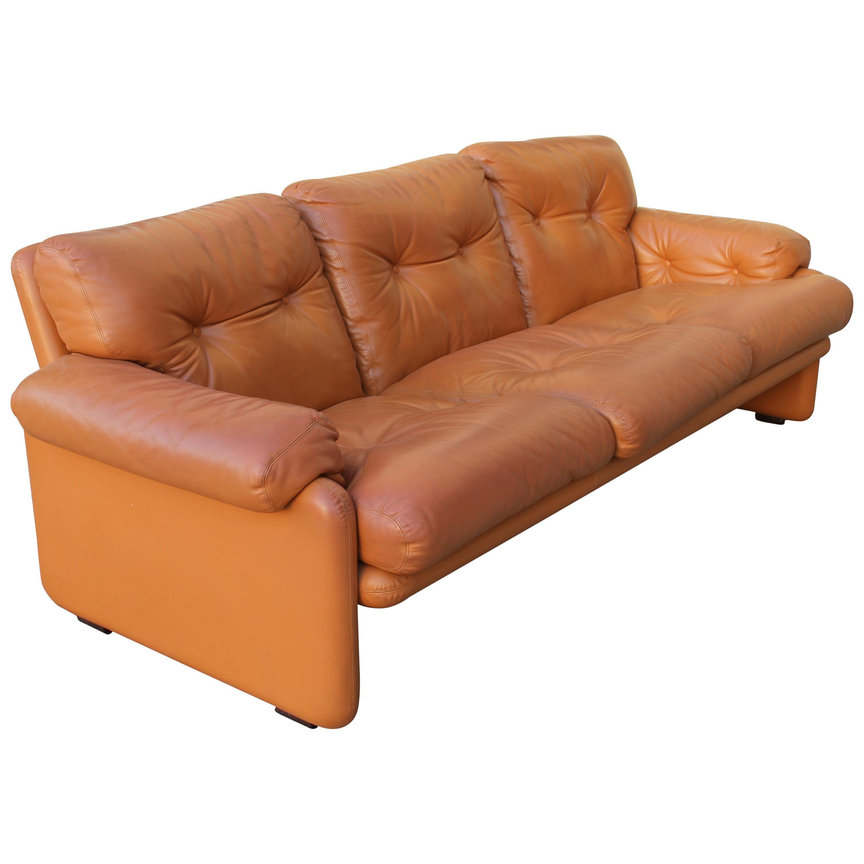 "Tobia Scarpa ""Coronado"" Light Cognac Leather Three-Seats Sofa for B&B"