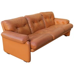 "Tobia Scarpa ""Coronado"" Light Cognac Leather Three-Seats Sofa for B&B"