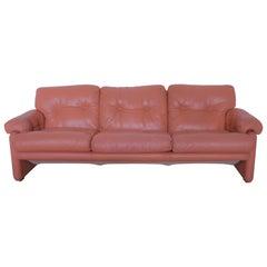 "Tobia Scarpa ""Coronado"" Salmon Pink Leather Three-Seats Sofa for B&B"
