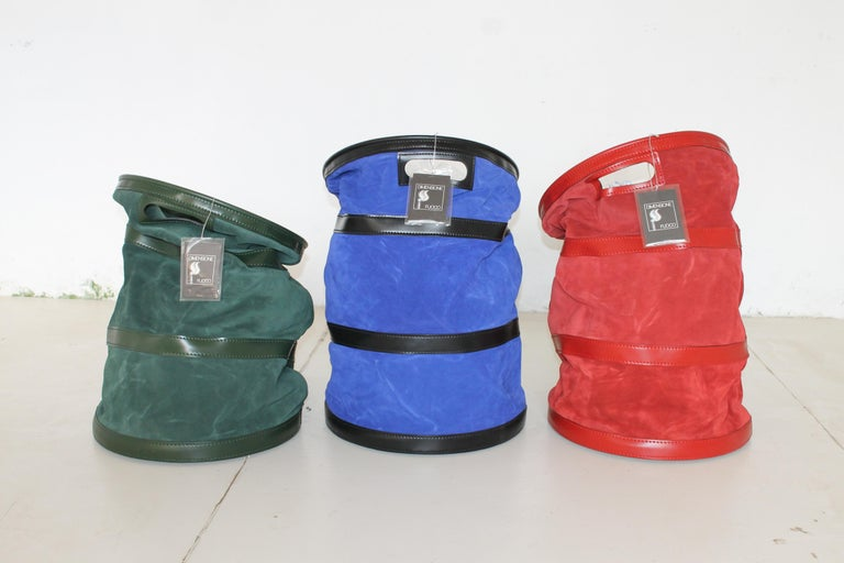 Modern Tobia Scarpa, Dimensione Fuoco Green, Red and Blue Leather Wood Carrier, Italy For Sale