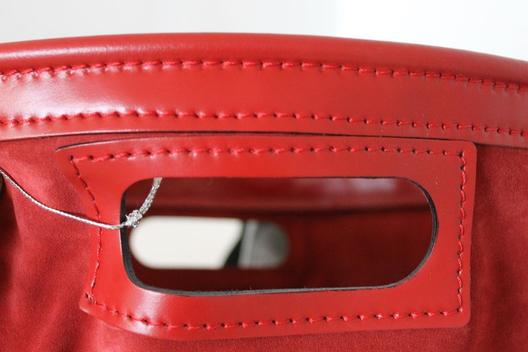 Italian Tobia Scarpa, Dimensione Fuoco Green, Red and Blue Leather Wood Carrier, Italy For Sale