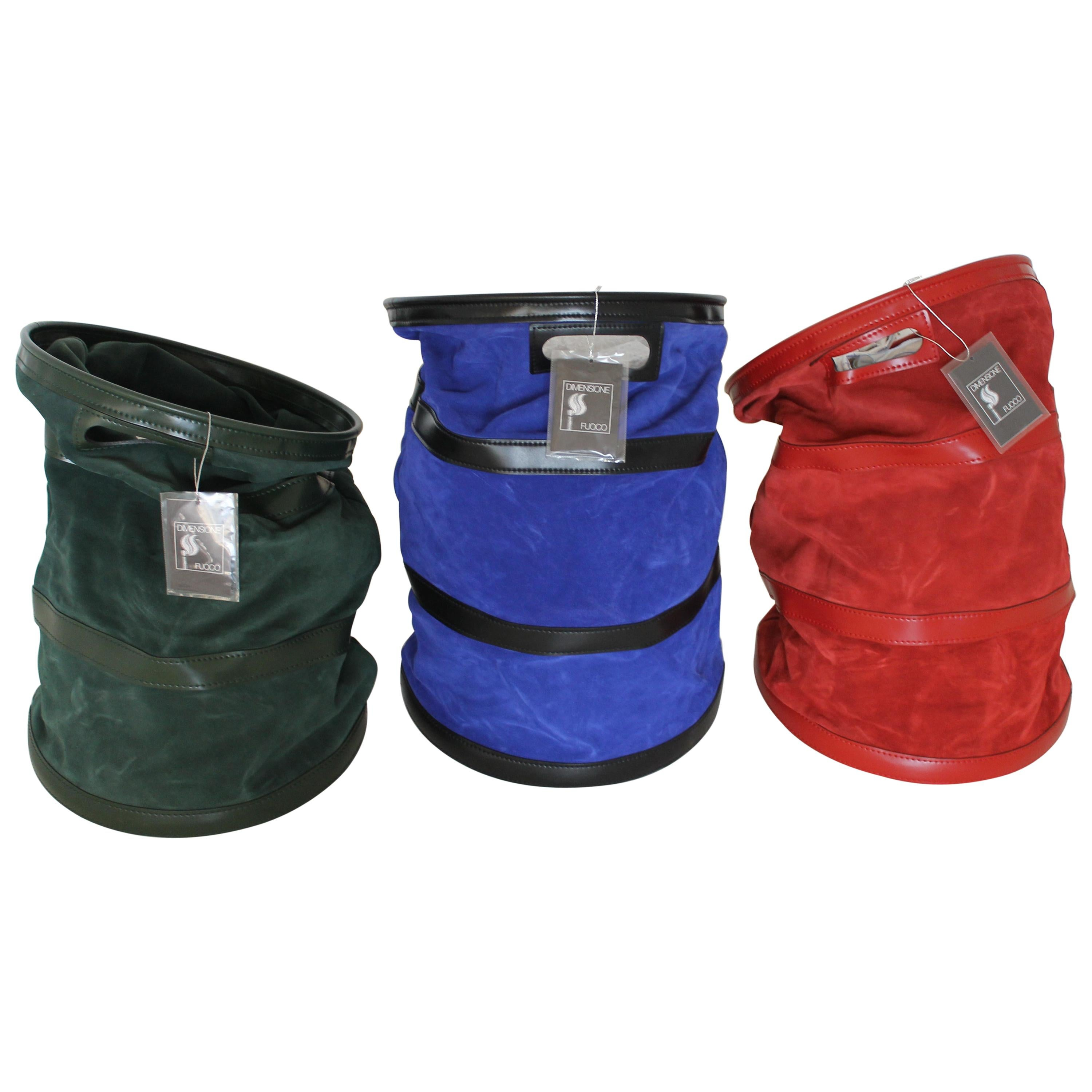 Tobia Scarpa, Dimensione Fuoco Green, Red and Blue Leather Wood Carrier, Italy