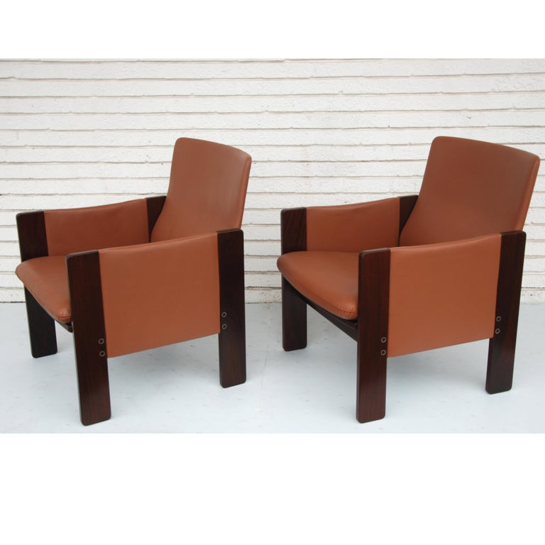 Mid-Century Modern Tobia Scarpa for Cassina Rosewood and Leather Lounge Chairs For Sale