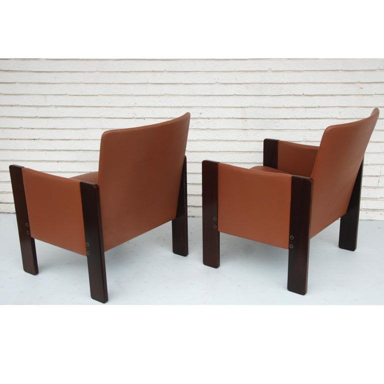 Italian Tobia Scarpa for Cassina Rosewood and Leather Lounge Chairs For Sale