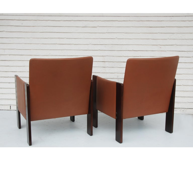Tobia Scarpa for Cassina Rosewood and Leather Lounge Chairs In Good Condition For Sale In Pasadena, TX