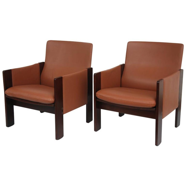 Tobia Scarpa for Cassina Rosewood and Leather Lounge Chairs For Sale