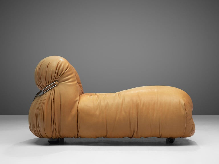 Italian Tobia Scarpa for Cassina 'Soriana' Chaise Longue Chair in Cognac Leather
