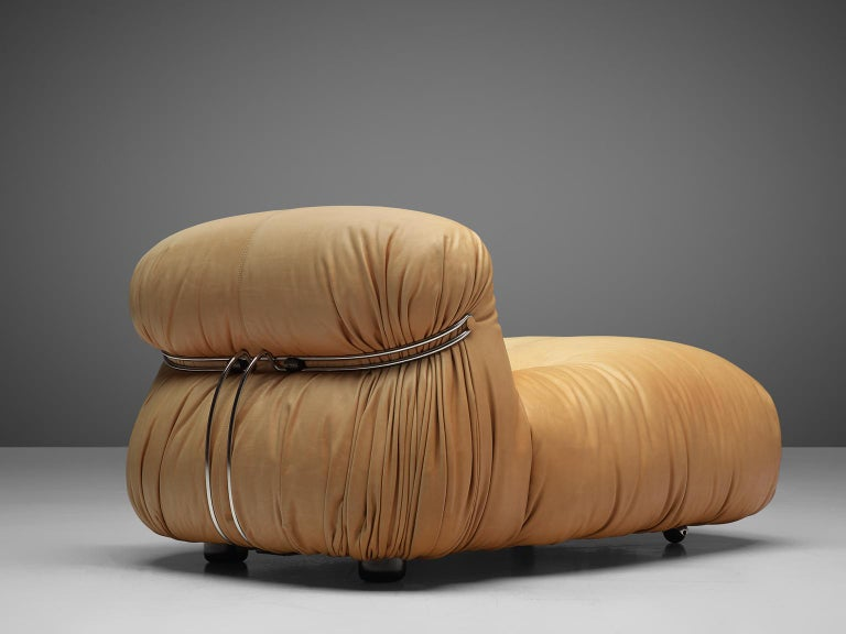 Tobia Scarpa for Cassina 'Soriana' Chaise Longue Chair in Cognac Leather In Good Condition In Waalwijk, NL