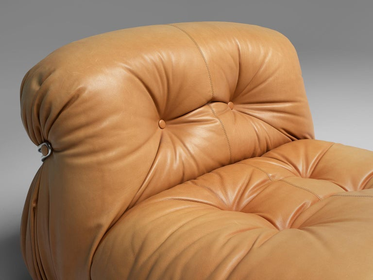 Steel Tobia Scarpa for Cassina 'Soriana' Chaise Longue Chair in Cognac Leather