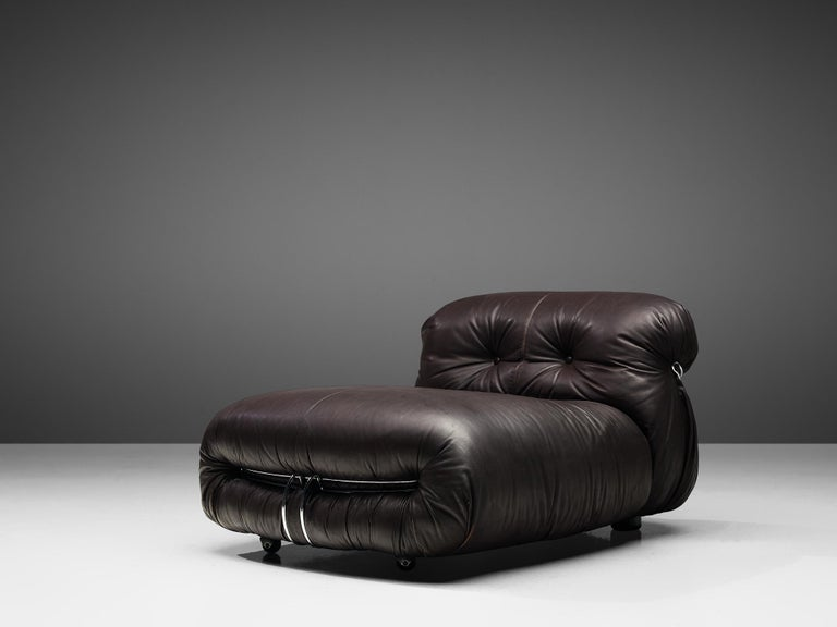 Mid-Century Modern Tobia Scarpa for Cassina 'Soriana' Chaise Longue Chair in Dark Brown Leather For Sale