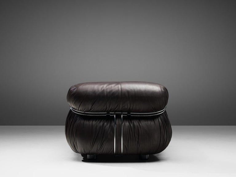 Mid-20th Century Tobia Scarpa for Cassina 'Soriana' Chaise Longue Chair in Dark Brown Leather For Sale