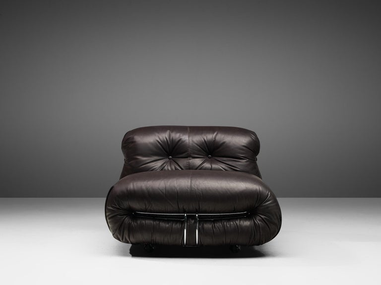 Metal Tobia Scarpa for Cassina 'Soriana' Chaise Longue Chair in Dark Brown Leather For Sale