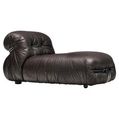 Tobia Scarpa for Cassina 'Soriana' Chaise Longue Chair in Dark Brown Leather