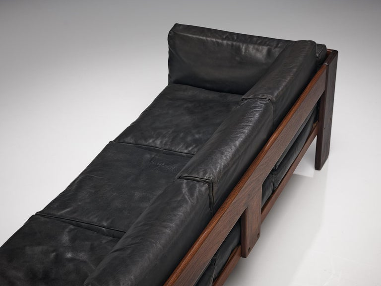 Tobia Scarpa for Knoll Pair of 'Bastiano' Sofas in Black Leather For Sale 4