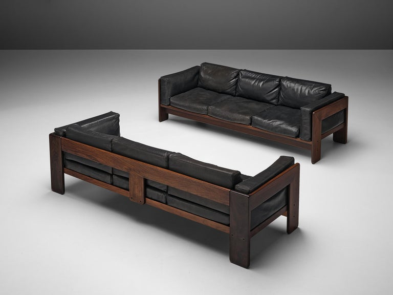 Tobia Scarpa for Knoll, 'Bastiano' sofa, leather, walnut, Italy, design 1960, manufactured between 1969-1970s  Beautiful Bastiano sofa made with a walnut frame and black leather upholstery. Tobia Scarpa designed the 'Bastiano' series for the