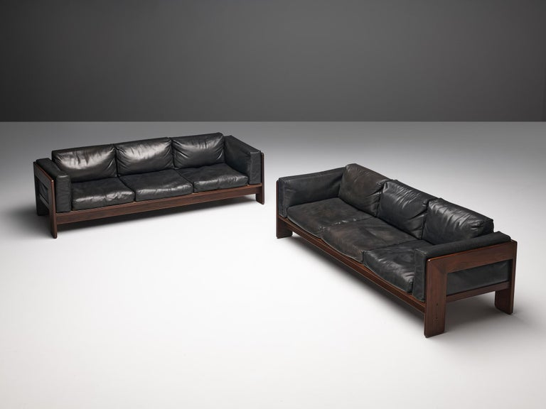 Italian Tobia Scarpa for Knoll Pair of 'Bastiano' Sofas in Black Leather For Sale