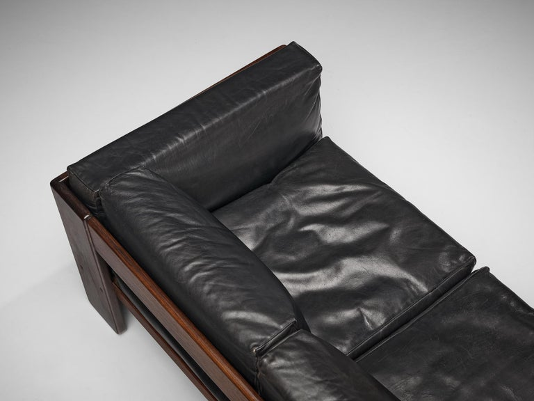 Mid-20th Century Tobia Scarpa for Knoll Pair of 'Bastiano' Sofas in Black Leather For Sale