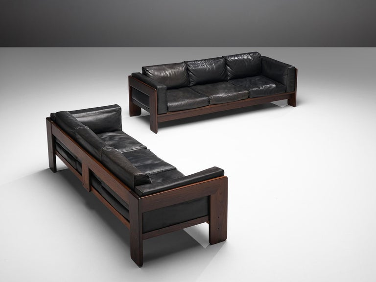 Tobia Scarpa for Knoll Pair of 'Bastiano' Sofas in Black Leather For Sale 1
