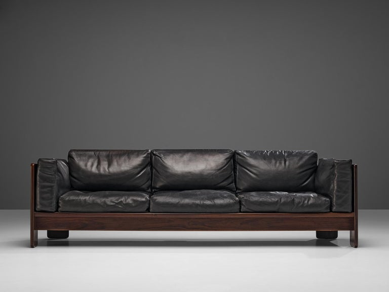 Tobia Scarpa for Knoll Pair of 'Bastiano' Sofas in Black Leather For Sale 2