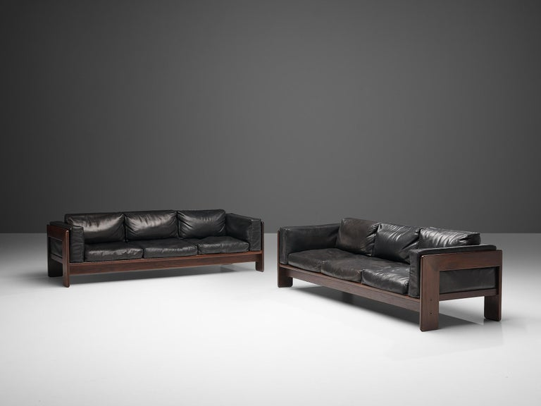 Tobia Scarpa for Knoll Pair of 'Bastiano' Sofas in Black Leather For Sale 3