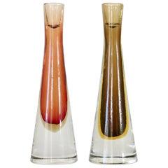 Tobia Scarpa for Venini Inciso Italian Sommerso Glass Candlesticks