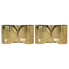 "Tobia Scarpa Mid-Century Modern Pair of Italian Brass Sconces ""Foglio"""