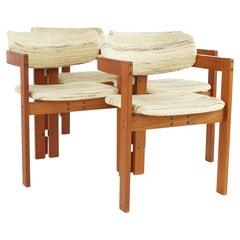 Tobia Scarpa Mid Century Teak Dining Chairs, Set of 4