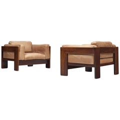 Tobia Scarpa Pair of 'Bastiana' Lounge Chairs in Rosewood and Leather