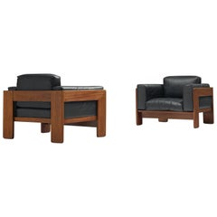 Tobia Scarpa Pair of 'Bastiano' Club Chairs in Walnut and Black Leather