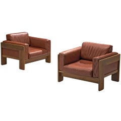 Tobia Scarpa Pair of 'Bastiano' Club Chairs in Walnut and Leather