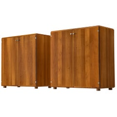 Tobia Scarpa, Pair of Cabinets in Walnut, Italy, 1960s