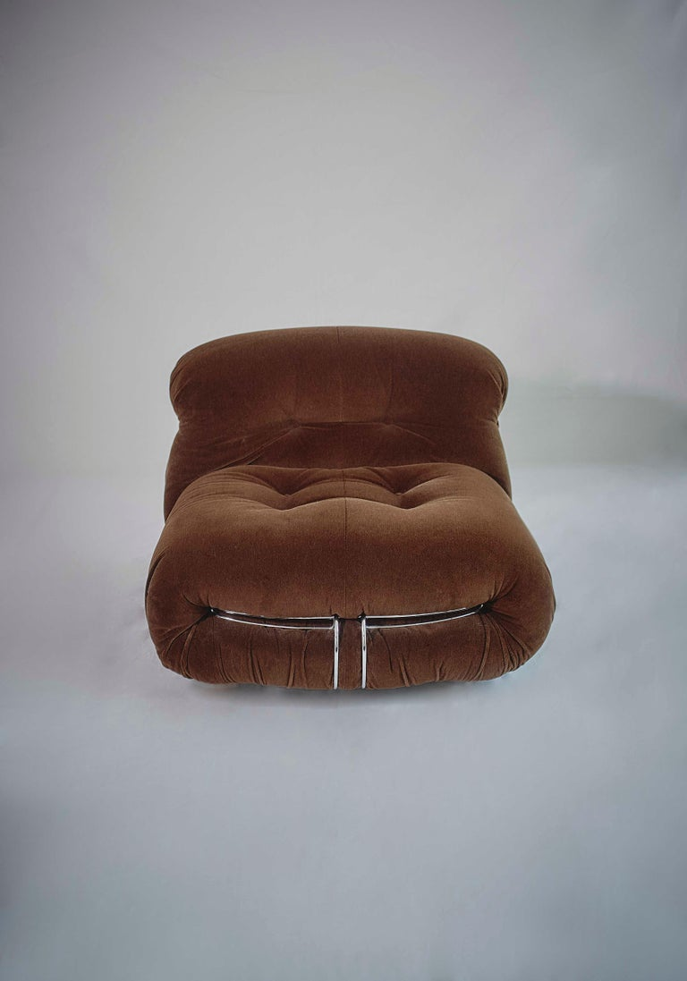 Metal Tobia Scarpa Pair of Soriana Lounge Chairs and Ottoman, Cassina, Italy, 1970 For Sale