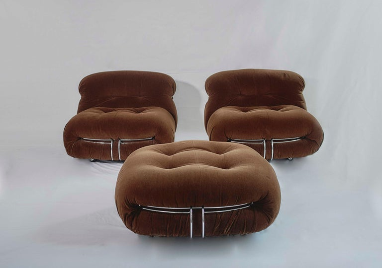 Tobia Scarpa Soriana Sofa and Pair of Lounge Chairs with Ottoman, Cassina, 1970 For Sale 4
