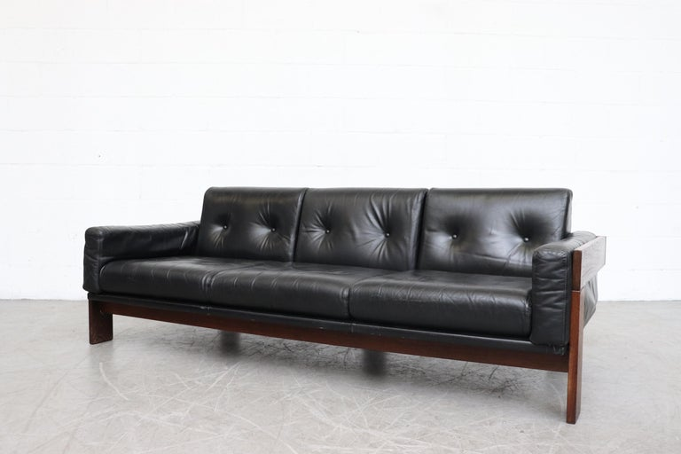 Tobia Scarpa Style Black Leather 3-Seat Sofa