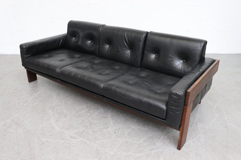 Tobia Scarpa Style Black Leather 3-Seat Sofa at 1stdibs