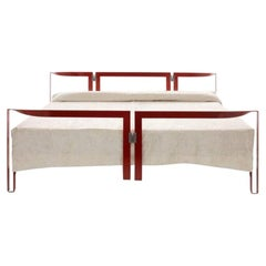 Tobia Scarpa Vanessa Bed Frame in Red Lacquered Metal for Cassina