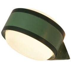 Tobia Scarpa for Flos 'Tamburo' Wall Lights in Green Aluminum and Glass