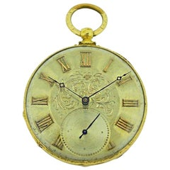 Tobias 18 Karat Gold Key Wind Pocket Watch with Engraved Case and Dial