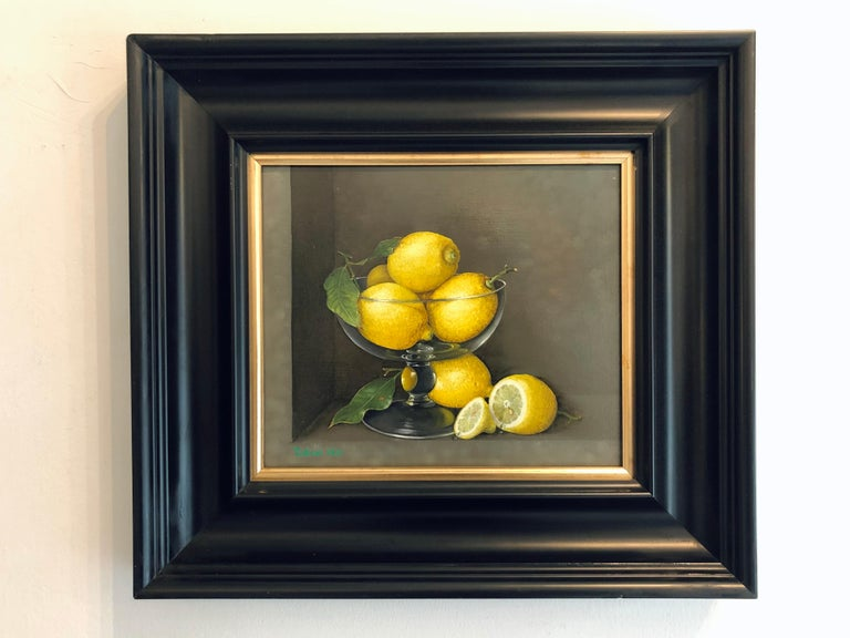 Lemons in a Glass - still life oil painting realism contemporary art - Painting by Tobias Harrison