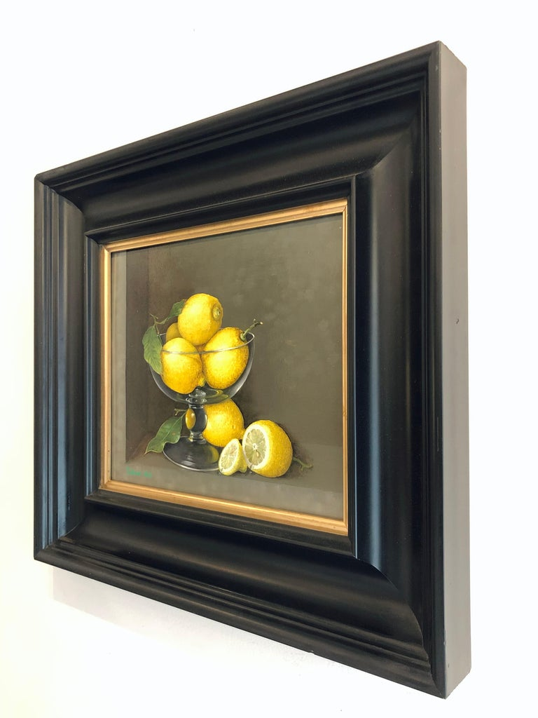 Lemons in a Glass - still life oil painting realism contemporary art - Realist Painting by Tobias Harrison