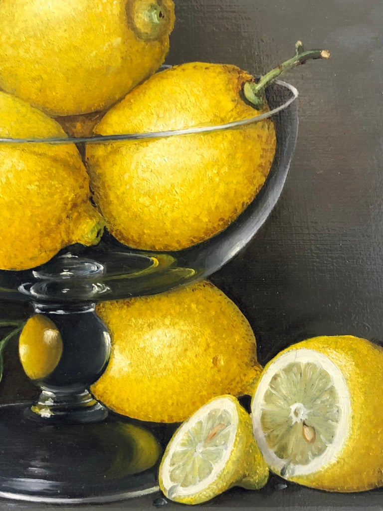 Lemons in a Glass - still life oil painting realism contemporary art - Black Still-Life Painting by Tobias Harrison