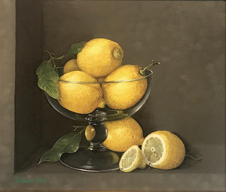 Tobias Harrison Still-Life Painting - Lemons in a Glass - still life oil painting realism contemporary art