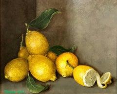 Lemons With Zest - original still life oil painting contemporary 21st C modern
