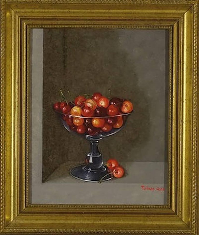 tobias harrison cherries in a glass still life painting painting
