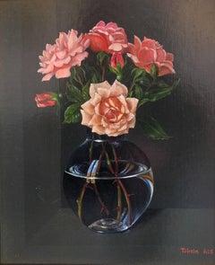 Roses from Rene - original still life painting realism modern art 21st C