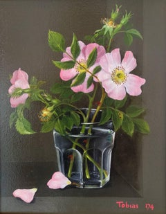 Still Life, Flowers In a Glass - realism oil painting contemporary modern art