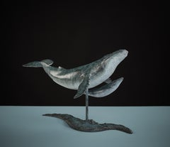 'Whale & Calf' Bronze Sculpture patinated blue of a Humpback Whale swimming
