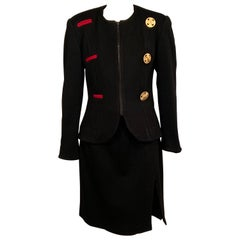 Toby Lerner Philadelphia Black Wool Suit with Decorative Buttons and Buttonholes