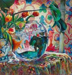 Goldfish Bowl, Painting, Oil on Wood Panel